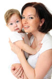 Picture of happy mother with baby over white. Picture of happy mother with beautiful baby over white Royalty Free Stock Images