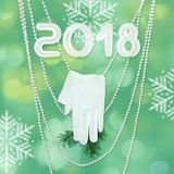 Happy new year - greeting card and background texture. Glove and stock illustration