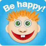 Picture of a happy red boy. Face red boy who very happily smiling be happy with the inscription royalty free illustration