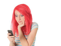 Picture of happy red hair woman with cell phone Stock Image