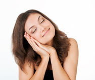 Picture of happy smiling woman dreaming Stock Image