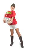 Picture of happy USSR girl with gifts Royalty Free Stock Photography