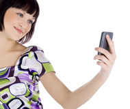 Picture of happy woman with cell phone Royalty Free Stock Photos