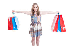 Picture of happy woman holding colorful shopping bags Royalty Free Stock Photo