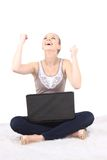 Picture of happy woman with laptop computer  on white Royalty Free Stock Images
