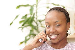 Picture of a happy woman on the phone Stock Photography