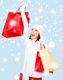Picture of happy woman with shopping bags Royalty Free Stock Photography