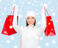 Picture of happy woman with shopping bags Stock Photo