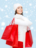 Picture of happy woman with shopping bags Stock Image