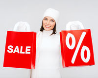 Picture of happy woman with shopping bags Stock Images