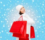 Picture of happy woman with shopping bags Royalty Free Stock Photo