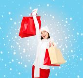Picture of happy woman with shopping bags Royalty Free Stock Images