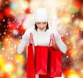 Picture of happy woman with shopping bags Stock Photography