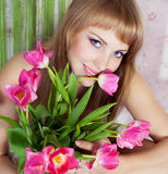Picture of happy young blonde woman Stock Photography