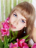 Picture of happy young blonde woman Royalty Free Stock Photo