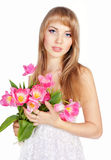 Picture of happy young blonde woman Royalty Free Stock Image