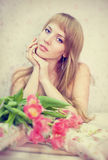 Picture of happy young blonde woman Royalty Free Stock Photos
