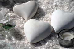Picture of heart shaped white stone souvenir.  royalty free stock photos