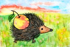 Picture hedgehog with apple. Bright children's drawing by hand Stock Photography