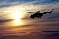 Picture of helicopter at sunset. Royalty Free Stock Photos