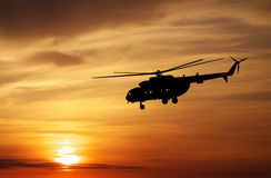 Picture of helicopter at sunset. Royalty Free Stock Images