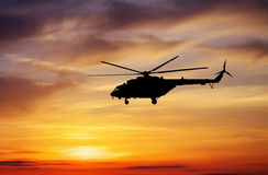 Picture of helicopter at sunset. Stock Photography
