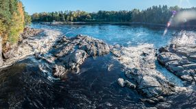 Holmfoss in Norway panorama. Picture of Holmfoss in Norway. Picture taken from the bridge above the waterfall and river Royalty Free Stock Photos