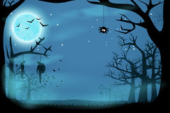 Picture of horror. Illustration of halloween horror in the forest at night Royalty Free Stock Image