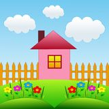 Picture with a house and floral flowerbed Royalty Free Stock Photo