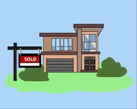 Picture. House Sold. Real Estate Sign to advertise a house listing. Basic Sign Sold in front of a modern House. Vector Illustratio Stock Photo