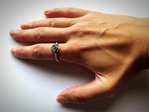 Hand with ring on finger. Picture of human hand with ring on finger Royalty Free Stock Images