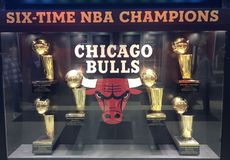 Chicago Bulls Trophy Case. This is a picture of the iconic Chicago Bulls trophy case displaying the Bulls 6 National Basketball Association Championships located stock photography
