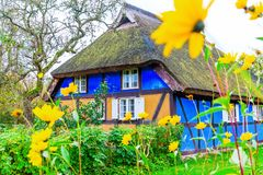 Idyllic thatched-roof cottage at the Lieper Winkel, Usedom, Germany Stock Photo