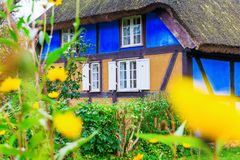 Idyllic thatched-roof cottage at the Lieper Winkel, Usedom, Germany Stock Image