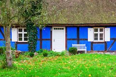 Idyllic thatched-roof cottage at the Lieper Winkel, Usedom, Germany Royalty Free Stock Photos