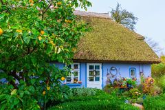 Idyllic thatched-roof cottage at the Lieper Winkel, Usedom, Germany Royalty Free Stock Photography