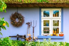 Idyllic thatched-roof cottage at the Lieper Winkel, Usedom, Germany Royalty Free Stock Image