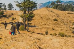 Picture of an indian family taking a stroll at a hilltop among trees royalty free stock image