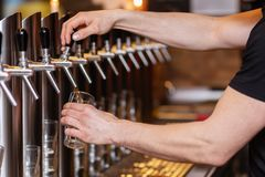 Innkeeper draws a beer at a beer pump. Picture of an innkeeper who draws a beer at a beer pump stock image