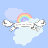 Picture for inspiration Follow your dreams. Motivational quotes. The vector picture. EPS 8 Stock Image
