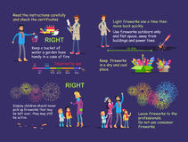 Picture Instruction for Right Firework Usage. Royalty Free Stock Photo