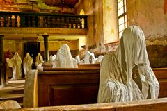 Old abandoned church full of ghosts stock image