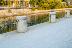 River chain. Picture of iron chain pole at ganga river side Stock Photo