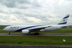 Picture of Israeli airplane about to take off from Paris stock photography