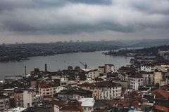 Bosporus river in Istanbul as seen from the Galatea Tower royalty free stock photography