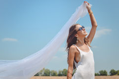 Picture of joyful romantic beautiful female Stock Photography