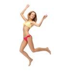 Picture of jumping woman in bikini. Bright picture of jumping woman in bikini Stock Image