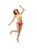Picture of jumping woman in bikini. Bright picture of jumping woman in bikini Stock Photography