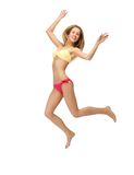 Picture of jumping woman in bikini. Bright picture of jumping woman in bikini Royalty Free Stock Photography