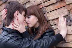 Picture of kissing couple Royalty Free Stock Photos